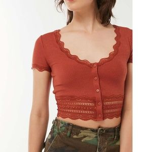 Urban Outfitters lace detail rust crop top